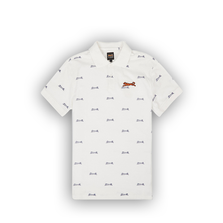 E TIGRE BRIDGE ALLOVER POLO - WHITE NAVY - LA1-007-100